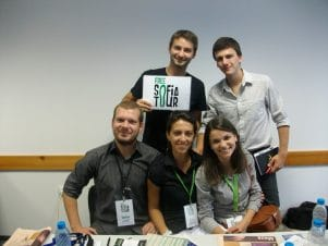 "The team of Free Sofia Tour during the forum: ""Career in Bulgaria: Why Not?"""