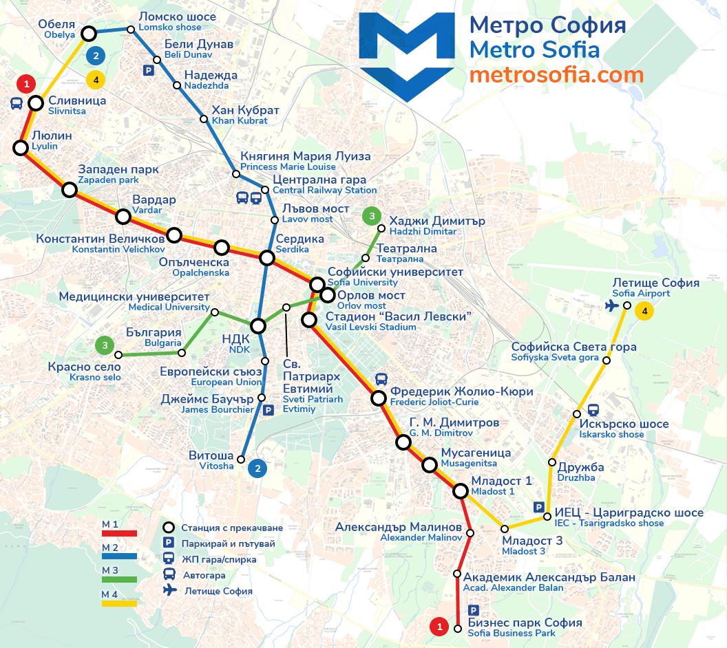 sofia metro lines map