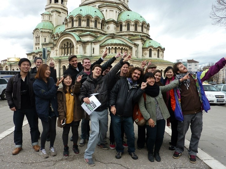 Guide in Sofia - picture with our guests and Free Sofia Tour TripAdvisor